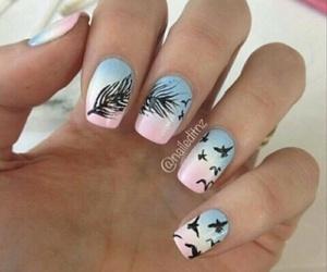 nails, bird, and nail art image