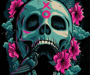 skull, wallpaper, and xo image