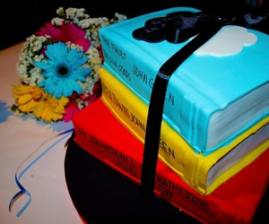 books, cake, and john green image