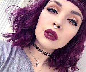 bangs, choker, and purple hair image