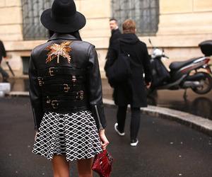 black hat, back details, and skirt image