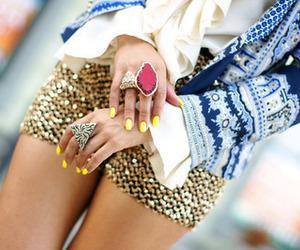 glitter, nail polish, and rings image