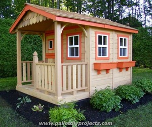 pallet house, pallet house designs, and pallet playhouse image