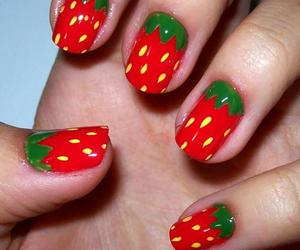 nails, strawberry, and green image