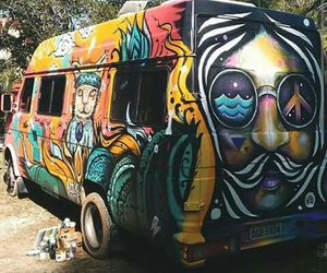 hippie, bus, and freedom image