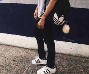 adidas, backpack, and black image
