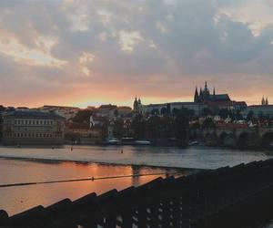 prague, river, and sunset image