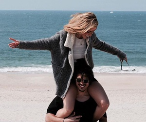 beach, couple, and fun image