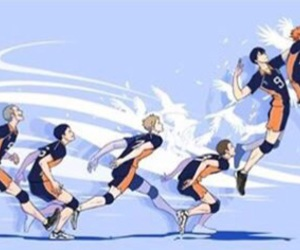 anime, volleyball team, and haikyuu image