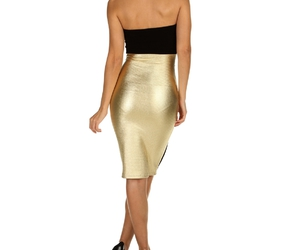 gold midi dresses and colorblock fitted image