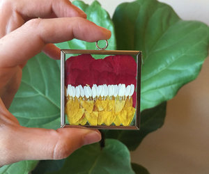 leaf pendant, pressed plant, and terrarium jewelry image