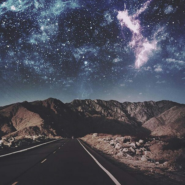 road, stars, and mountains image