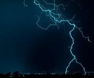 lightning, blue, and sky image