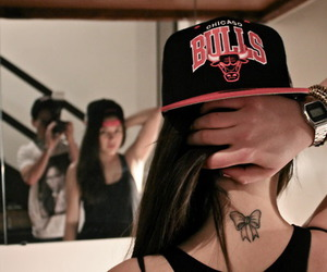girl, tattoo, and bulls image