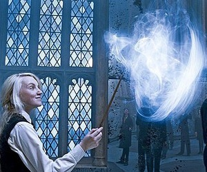 harry potter, luna lovegood, and patronus image