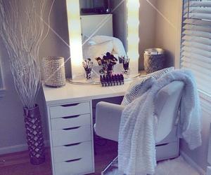 makeup, room, and bedroom image