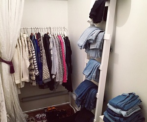 clothes, jeans, and walk-in-closet image