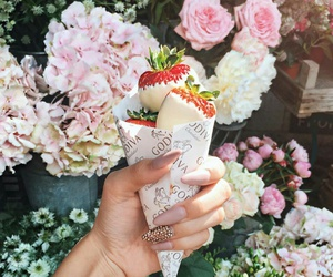 flowers, strawberry, and sweet image