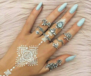 nails, henna, and girls image