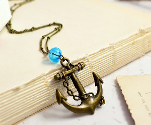 etsy, navy, and anchor necklace image