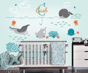 baby, crib, and water image