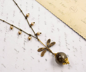 brown, etsy, and dragonflies necklace image