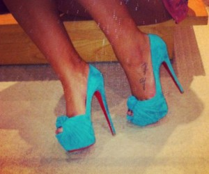 blue, heels, and tan image