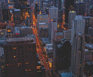 city, lights, and chicago image