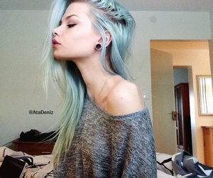 colorful hair, septum, and off shoulder image