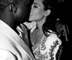 kim kardashian, couple, and kanye west image