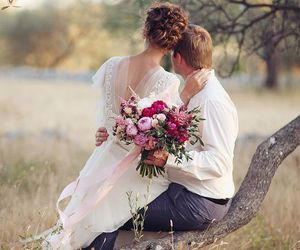 bouquet, bridal, and couple image