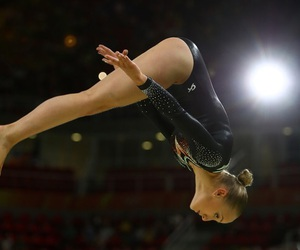 beam, gymnast, and gymnastics image