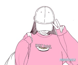 outline, pink, and girl image