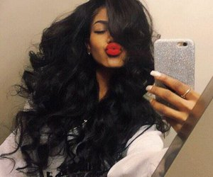 hair and red lips image