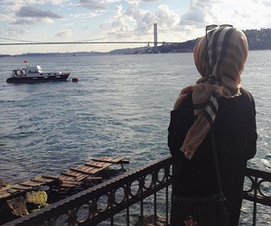 hijab, sea, and hijabgirl image