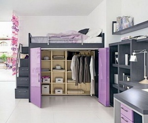 bedroom, house, and purple image