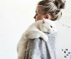 cat, girl, and animal image
