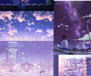 anime, purple, and scenery image