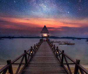 night sky, singapore, and pier image