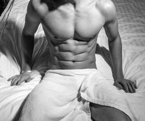 abdomen, handsome, and b&w image