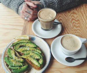 cappuccino, girl, and avocado toast image