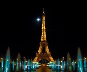 paris, night, and eiffel image