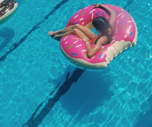 donut, float, and girl image