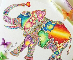 art, art therapy, and elephant image