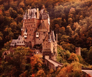 castle, autumn, and forest image
