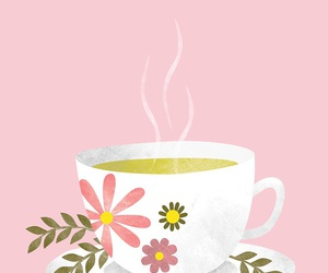 pink, tea, and wallpaper image