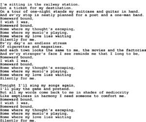Lyrics, music, and railway station image