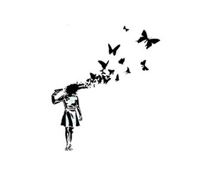 butterfly, black and white, and gun image