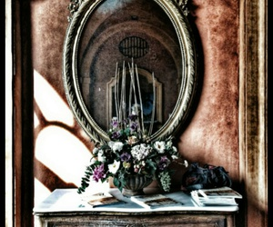 commode, fleur, and mirror image