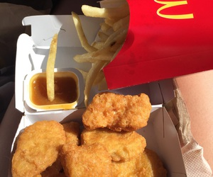 Chicken, fries, and food image